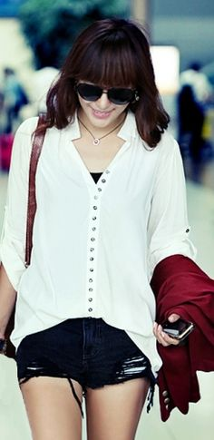 Buttoned Adjustable Sleeves Blouse White on Buytrends.com, only price $10.42