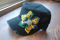 Green Bay Packers Military Cadet flower hat by Ebowsboutiqu Love this hat, price a bit high for me.