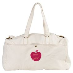 Wear Pink Apple, cute pink apple bag, gift. Personalize it adding your text! More cute gifts - in my store on http://www.cafepress.com/technotextnl
