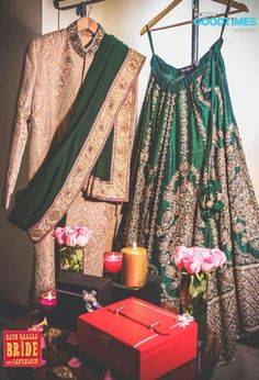 Groom Wear - Gold Sherwani and Dark Green Dupatta with Matching Lehenga | WedMeGood #wedmegood #sherwani
