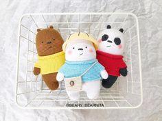 Crochet Teddy Bear Pattern, Crochet Animal Patterns, Stuffed Animal Patterns, Crochet Patterns Amigurumi, Crochet Dolls, Kawaii Crochet, Cute Crochet, Cute Origami, Bff