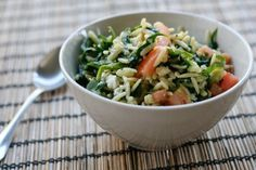 spinach & feta orzo salad! eating this at whole foods right now, and am totally going to make it at home