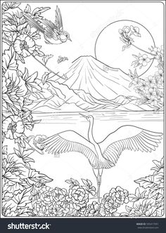 Japanese Landscape With Mount Fuji And Tradition Flowers A Bird Outline Drawing Coloring Page Book For Adult Vector Stock Illustration