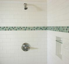 White tiled shower...gathering ideas...remodel in the future