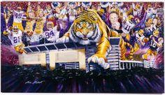 LSU Louisiana State Fighting Tigers Football Sports Art Print Lsu Tigers Football, Louisiana Art, Sports Art, Art Prints, Image Search, Purple, Gold, Art Impressions, Viola