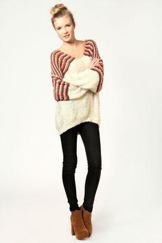 Evie Sequin Stripe Dip Hem Baggy Sweater