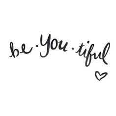 brush script quote print hand lettering black white beautiful be you tiful cute inspirational sail and swan design studio