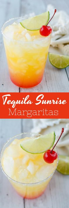 Skinny Tequila Sunrise Margaritas - a low calorie margarita recipe that's perfect for summer!