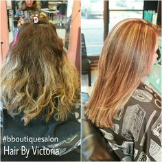 We added more #hilighting to refresh her previous #foiling & added some rich #redtones, we also did a haircut to reshape & remove bulk