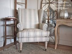 Gray Striped Linen Wingback Chair by noteworthyhome on Etsy, $450.00 Striped Linen, Grey Linen Chair, Wingback Chair, Occasional Chair, Turned legs, Grain sack chair, reading chair