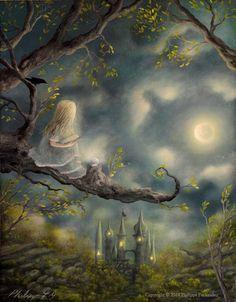 """Spellbound"" Limited Edition Print By Fairy Tale Fantasy Landscape Artist Philippe Fernandez. Fairytale Fantasies, Fairytale Art, Fantasy Landscape, Fantasy Art, Dark Fantasy, Landscape Mode, Maurice Careme, Fairy Art, Magic Fairy"