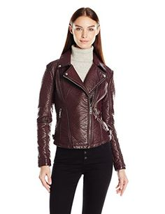"GUESS Women's ""Almost Leather"" Moto Jacket (Pu), Wine, S"