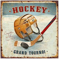 Art Print: Hockey by Bruno Pozzo : Hockey Mom, Ice Hockey, Hockey Gifts, Vintage Prints, Vintage Posters, French Typography, Crafts With Pictures, Decoupage Vintage, Vintage Luggage