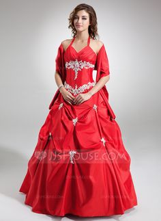Ball-Gown V-neck Floor-Length Taffeta Quinceanera Dress With Ruffle Beading Appliques Lace Sequins (021004554) - JJsHouse
