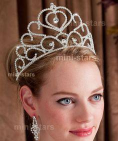 Bridal Wedding Pageant Heart Sparkling Tall Tiara use Swarovski Crystal AT1274