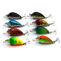 1pcs lowest price small Fat Wobbler Fishing Lures Crank 4.5cm/1.77in 4.2g/0.15oz  Rock Fishing Hard Bait Hooks #10