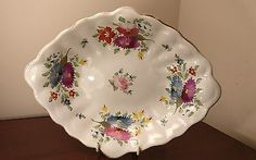 Derby porcelain antique flower painted lozenge shaped dish