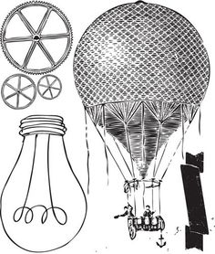 Craftsman Clear Stamp 1 from Prima balloons steampunk gears lightbulb.