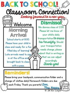 Little Miss Kindergarten-Lessons From the Little Red Schoolhouse! A year of editable newsletter templates. Spend your time on your message and content instead of formatting and decorating! Preschool Welcome Letter, Teacher Welcome Letters, Meet The Teacher, Parent Letters, News Letters, Back To School Night, 1st Day Of School, Beginning Of The School Year, Sunday School