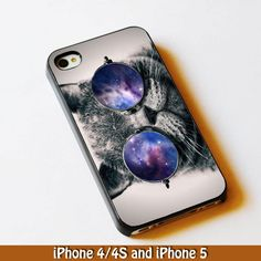 cat face with glasses galaxy for iPhone 4/4s