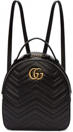 9d8fc69b3eb5 Gucci Black GG Marmont Backpack  Pradahandbags Black Gucci Backpack