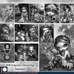 TWELVE new grayscale coloring pages are up at my Patreon! (We have traditional lineart too!). #jasminebecketgriffith #strangeling #coloringbook #adultcoloringbook #adultcoloringbooks #coloringbooksforgrownups #coloringbooksforadults #fantasyart #art #painting #coloringbookforadults #bigeyes #bigeyeart #newcontemporary #grayscalecolorist #grayscalecolorists #steampunk #grayscale #grayscalecoloring #fairy #fairyart #popsurrealism #lowbrowart #coloring #coloringpage #coloringpages #patreon
