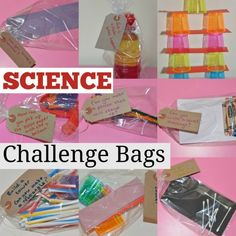 Science challenge bags! Great for STEM centers or science stations.                                                                                                                                                                                 More