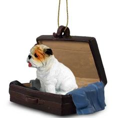Bulldog White Dog Breed Tag Along Carrycase Ornament