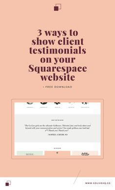 How to show client testimonials on Squarespace site Squarespace tips and tricks Squarespace guide Logo Inspiration, Website Design Inspiration, Design Web, Design Layouts, Flat Design, Design Trends, Branding, Brand Identity, Apps