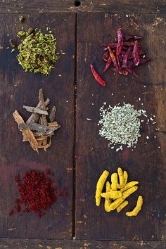 Spices on wooden box
