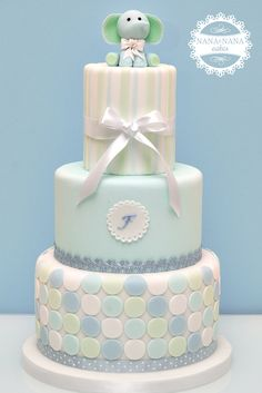 Baby Shower Cake- adorable in blue or pink Baby Shower Cakes For Boys, Baby Boy Cakes, Baby Boy Shower, Baby Showers, Cute Cakes, Pretty Cakes, Beautiful Cakes, Christening Cake Boy, Boy Baptism
