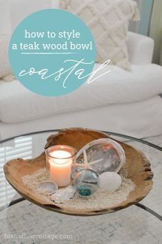 I recently got the most beautiful hand carved teak wood bowl from Katrina & Co, and I'm sharing how I styled it for a casual coastal feel in about 2 mintues!! This is a simple look with a relaxed vibe, and it's extra perfect for Summertime. #teakwood #doughbowl #decoratingideas #decoratingtips #coastalstyle #coastalhome Casual Decor, Glass Floats, Wood Bowls, Coastal Style, Beach House Decor, Teak Wood, Decor Crafts, Decorating Ideas, Decor Ideas