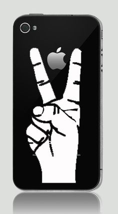 iPhone 3G & iPhone 4/ 4S Humor Decal Sticker White Color Victory