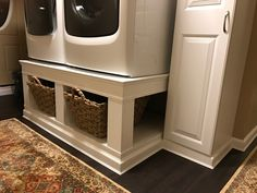 DIY pedestal for washer and dryer. A weekends work makes doing laundry easier with raised machines.