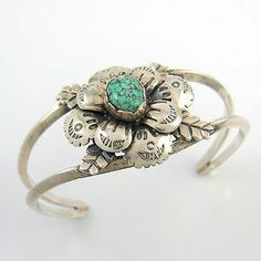 Stunning-Old-Pawn-Navajo-Sterling-Silver-Turquoise-Cuff-Bracelet-RS-R-/121219797693?
