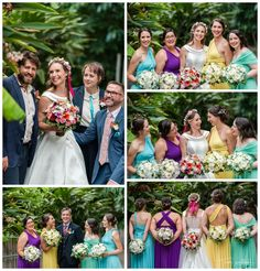 Vibrant Bridal Party in the lush grounds of the Perth Zoo.  Photography by Trish Woodford Photography