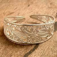 Silver filigree cuff bracelet, 'Floral Breeze' from @NOVICA, They help #artisans succeed worldwide.