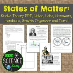 Kinetic Theory: States of Matter Matter Activities, Class Activities, Science Guy, Physical Science, Kinetic Theory, Student Binders, Note Sheet, States Of Matter, Drawing Activities