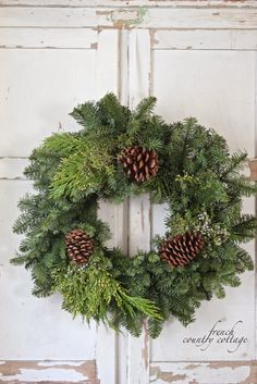 Christmas wreath with pine cones. Beautiful!