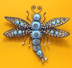 Turquoise Blue and Rhinestone Dragonfly Brooch by Larry Vrba
