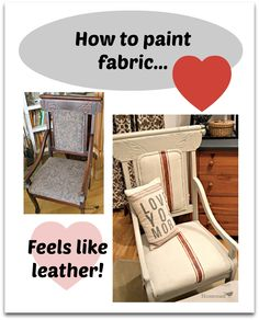 Painting on fabric with chalk paint really works! http://www.homeroad.net/2013/08/chalk-paint-on-fabric-chair.html