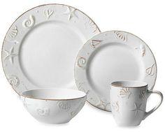 Off-White Dinnerware Plates and Mugs with Embossed Seashells... http://www.beachblissdesigns.com/2016/10/white-seashell-dinnerware-set-from-bed.html 16-piece dinnerware set for $39.99!