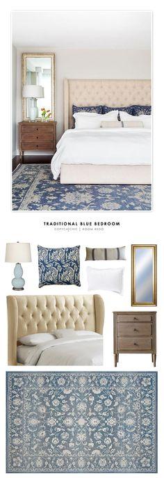 Copy Cat Chic Room Redo | Blue Traditional Bedroom
