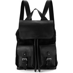 ASPINAL OF LONDON Shadow nubuck and leather rucksack ($745) ❤ liked on Polyvore featuring bags, backpacks, black, leather flap backpack, black drawstring backpack, laptop bag, leather knapsack and black rucksack
