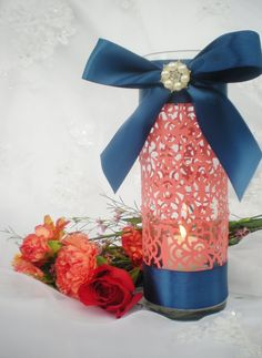 """Wedding centerpiece, 10"""" tall, coral navy blue, intricate elegant design, CUSTOM COLORS available on Etsy, $14.99"""