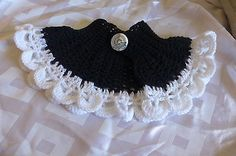 Collar Scarf Handmade Croche Capelet Acrylic Wool Black+White New Pattern Button