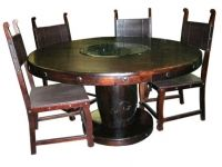 Round hand made solid wood dining table made in Indai