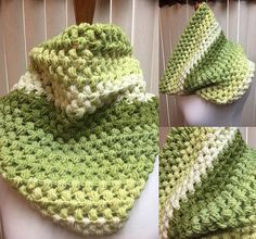 Puff Stitch Cowl, Crochet Cowl Scarf, Green Crochet Cowl, Striped Cowl, Multi Color Cowl, Gifts for Her, Circle Scarf, Crocheted Cowl by CozyNCuteCrochet on Etsy