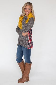 plaid flannel back tunic