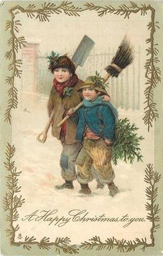 A HAPPY CHRISTMAS TO YOU boy carrying  tree, broom & basket walks in snow *